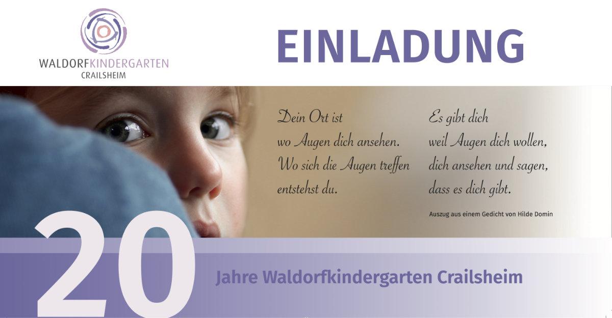 Einladung zur Jubiläumsfeier 20 Jahre Waldorfkindergarten Crailsheim